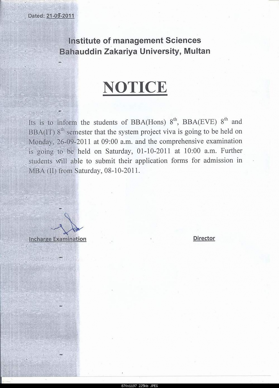 Notice for System Project Viva & Comprehensive BZU-viva2011.jpg