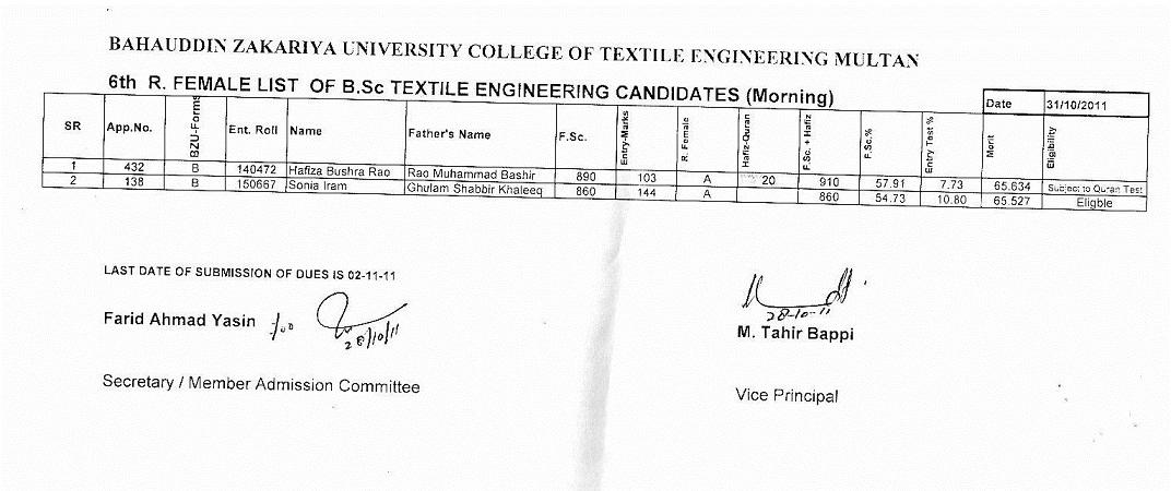 BSC Textile engineering 6th merit list BZU 2011-6thtextileengineeringfemale_morning.jpg