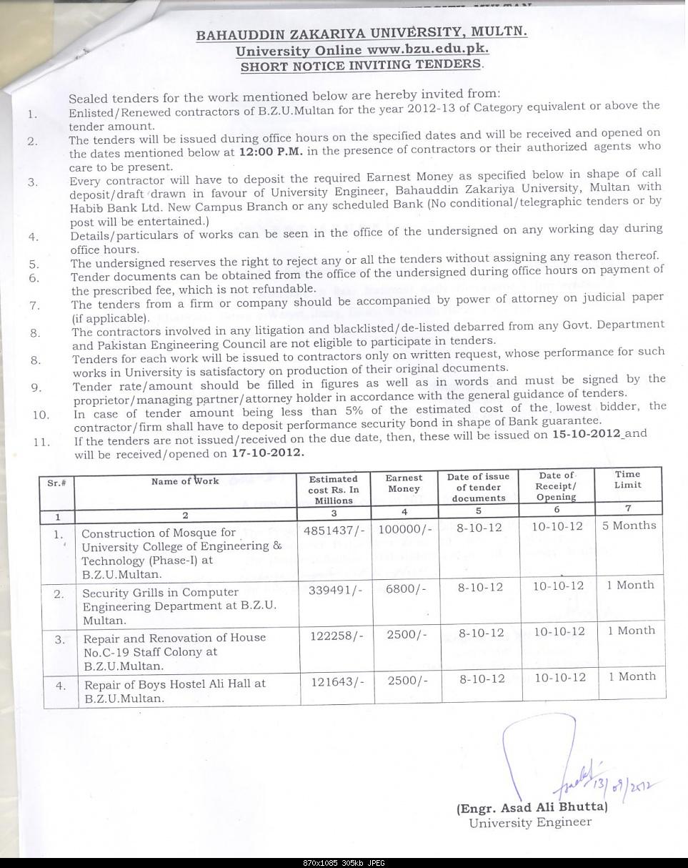Short Tender Notice BZU 2012-short-tender-notice.jpg