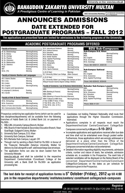 BZU Postgraduate Programs Admission Date Extended-date-extend-announce-admission-postgraduate-sep-2012.jpg