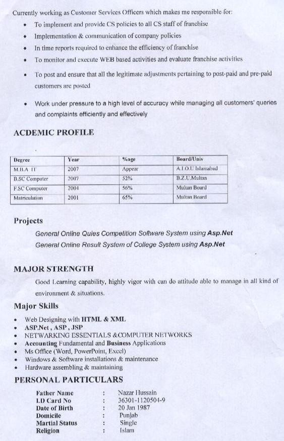curriculum vitae. Samples of Curriculum Vitae
