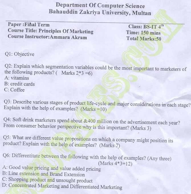 Name:  Final term paper Principal of Marketing, BIT 4th By Madam Ammara Akram Computer Science Departme.jpg Views: 951 Size:  74.3 KB