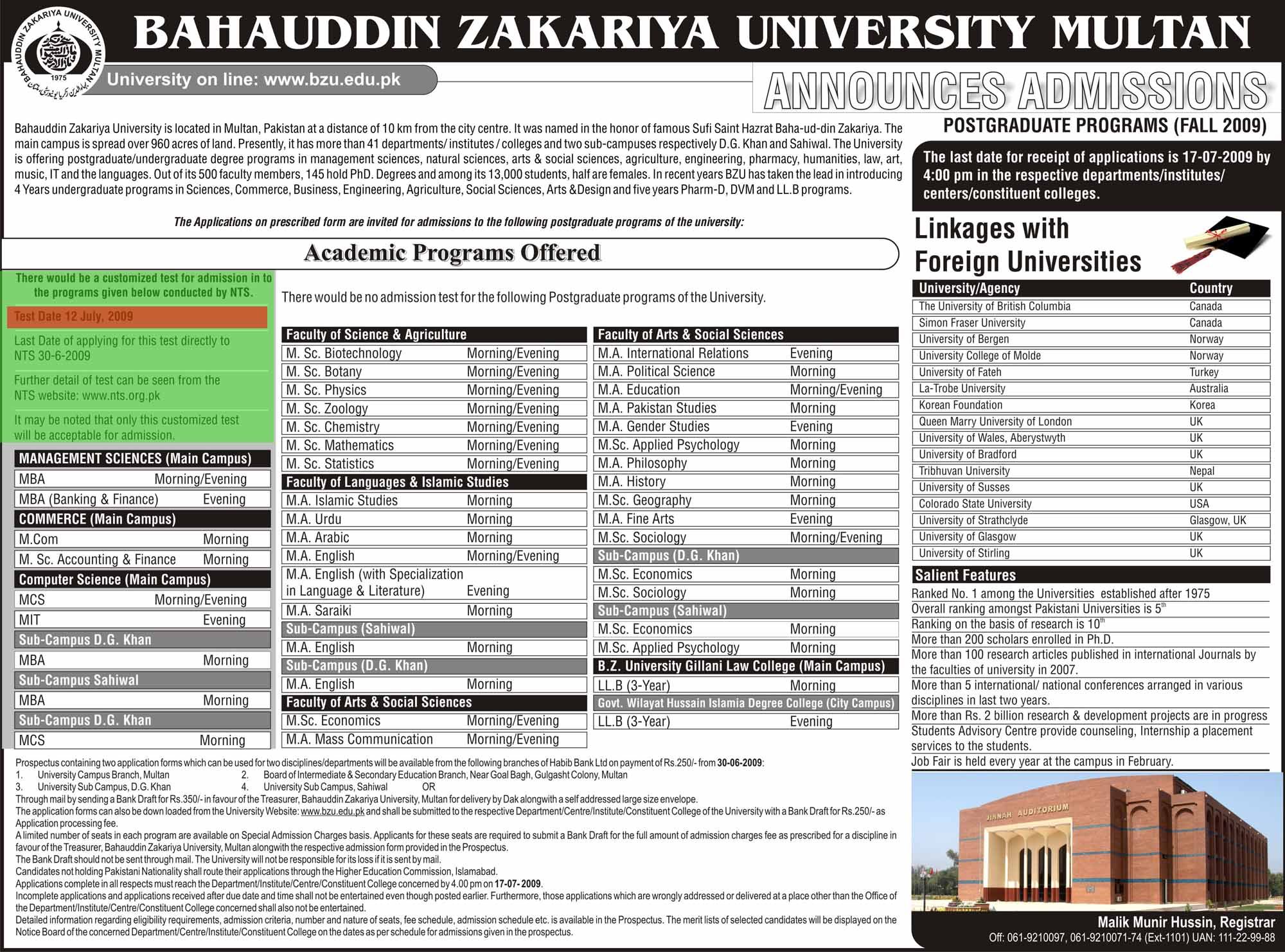 Admission Open for Postgraduate Program/Master Degree (BZU Multan ...