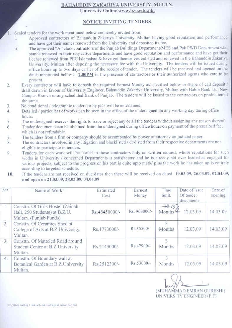 Tender Notice (Source: official website of bzu multan) - BZU