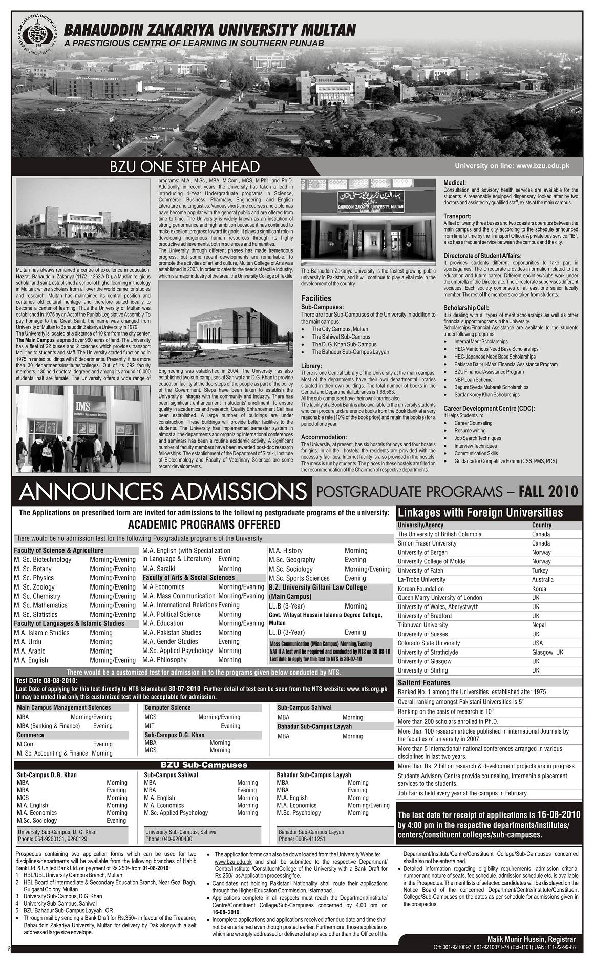 Admissions Open in BZU Multan for Postgraduate Programs 2010 - BZU ...